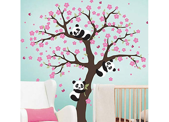 Simple Shapes Cherry Blossom Tree with Pandas Wall Decals