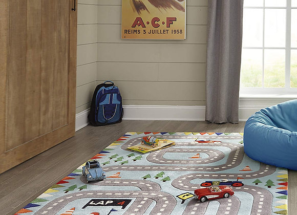 Light Blue Racecar Hand Carved and Tufted Kids Area Rug