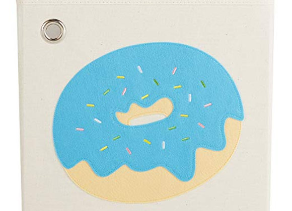 Sprinkled Blue Donut Storage Canvas Cube