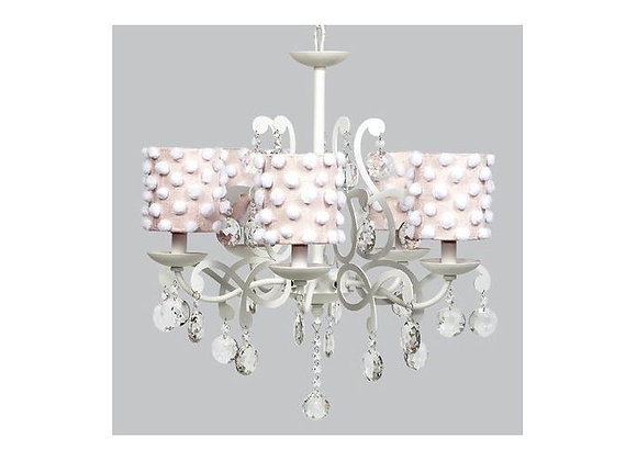 Jubilee 5 Light Elegance Crystal Chandelier With Pink Pom Pom Shades