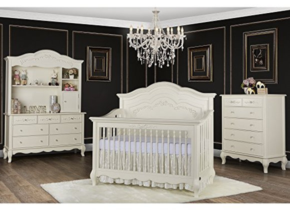 Aurora 5 in 1 Solid Wood Crib in Ivory Lace