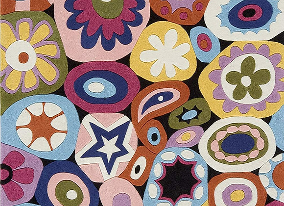 Momeni Kids Multicolor Flower Hand Carved and Tufted Area Rug