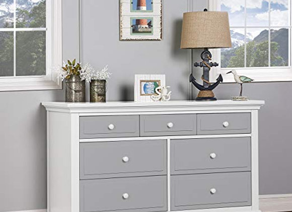 Parker 7 Drawer Double Dresser in White and Dove Gray