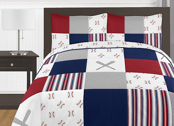 Sweet JoJo Designs Baseball Patch Quilt and Sham Bedding Set