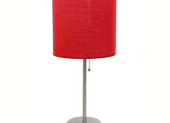 Brushed Steel Lamp with Red Shade and Charging Station