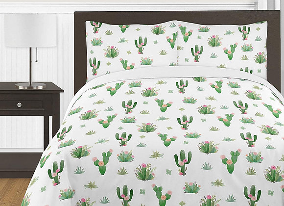 Sweet JoJo Designs Watercolor Cactus Quilt and Sham Bedding Set