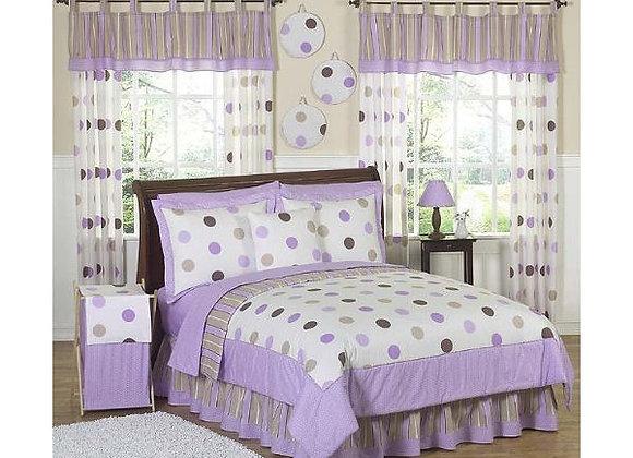 Sweet JoJo Designs Purple and Brown Modern Dot Quilt and Sham Bedding Set