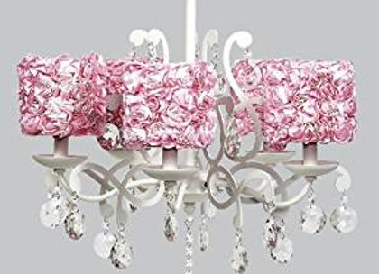 White 5 Arm Crystal Chandelier with Pink Rose Garden Shades