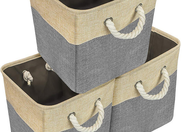 Set of 3 Large Fabric Storage Baskets in Khaki and Gray