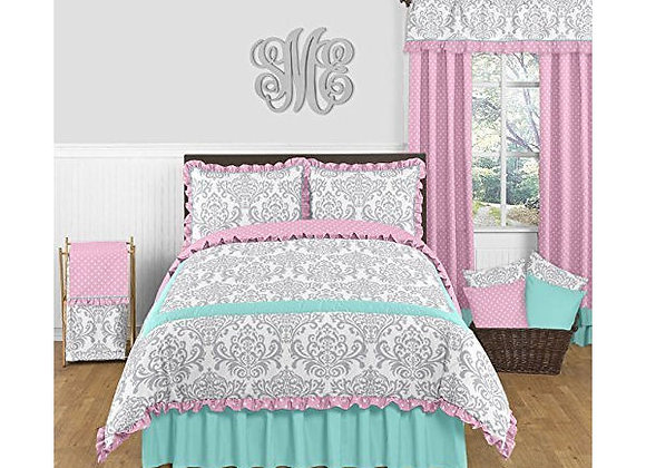 Sweet JoJo Designs Turquoise Skylar Damask Bedding Set