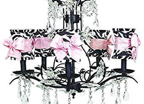 5 Light Cinderella Black Crystal Chandelier with Zebra and Pink Silk Shades