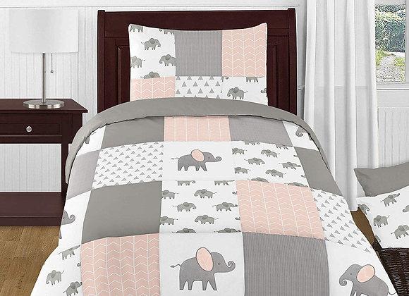 Sweet JoJo Designs Watercolor Elephant Quilt and Sham Bedding Set