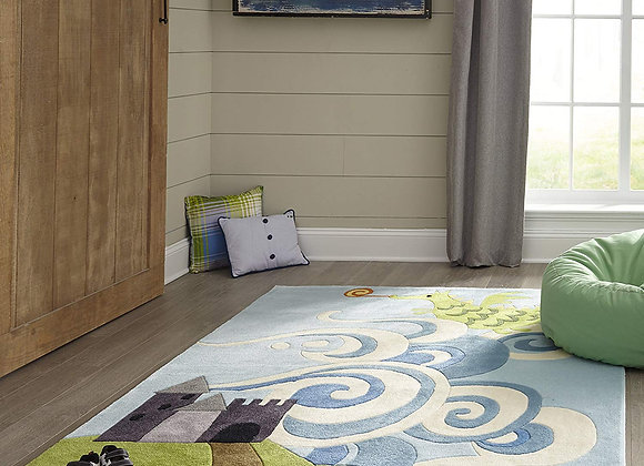 Dragon and Castle Hand Tufted and Carved Kids Area Rug