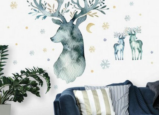 Roommates Watercolor Winter Deer Peel and Stick Wall Decal