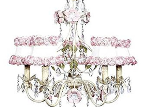 Jubilee 5 Light Flower Garden Crystal Chandelier With Pink Rose Shades