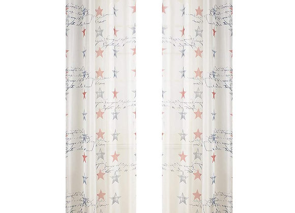 Sheer Voile Americana Stars Window Panel