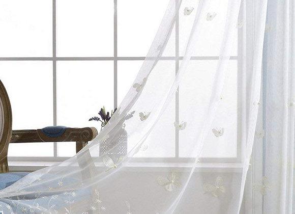Sheer Butterfly Lace Window Panel