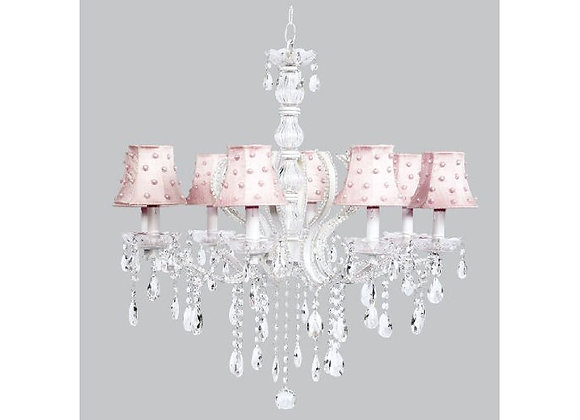 8 Light  Pageant Crystal Chandelier with Pink Silk Pearl Dot Shades