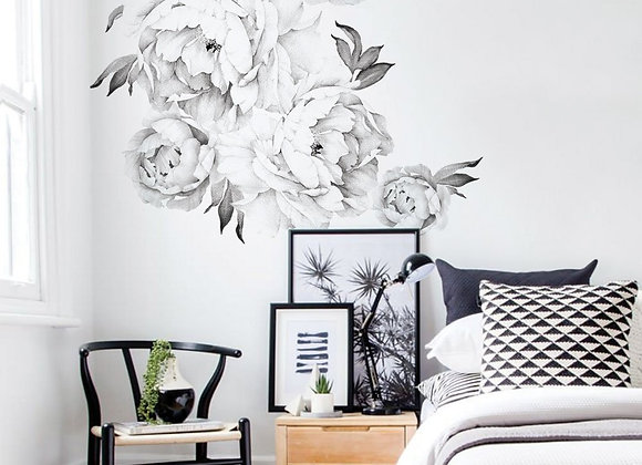Set of 6 Giant Black and White Peony Wall Decals