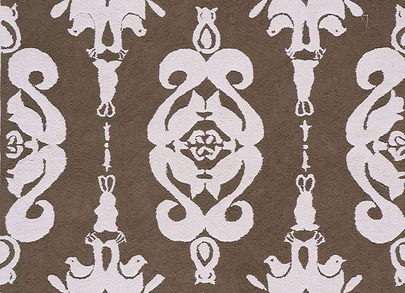 Pink and Brown Design Hand Carved and Tufted Kids Area Rug