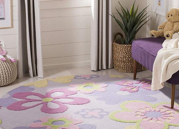 Safavieh Kids Multi Colored Flower Round Wool Area Rug