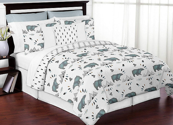 Sweet JoJo Designs Watercolor Bear Mountain Striped Quilt and Sham Bedding Set