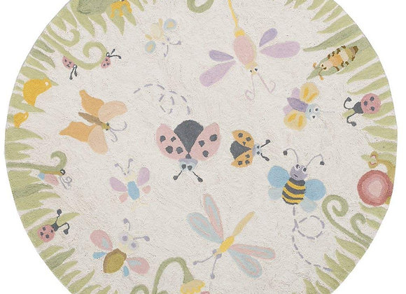 Round Garden Butterfly Hand Carved and Tufted Kids Area Rug