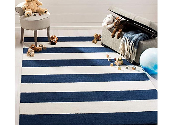 Safavieh Kids Navy And White Striped Wool Area Rug