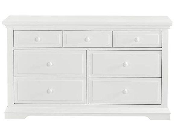 Parker 7 Drawer Double Dresser in Winter White