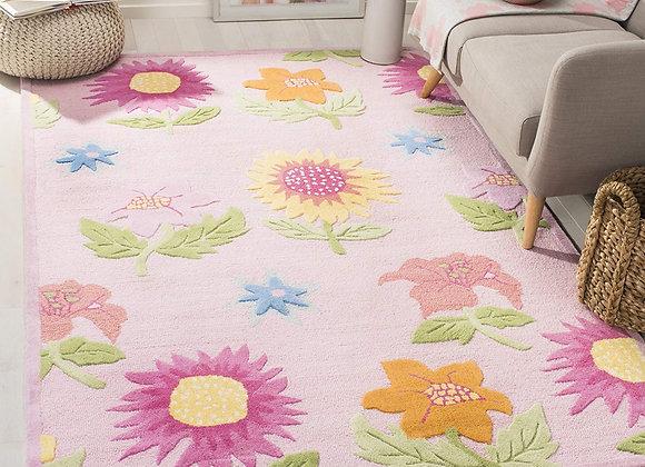 Safavieh Kids Pink Daisy Flowers Wool Area Rug
