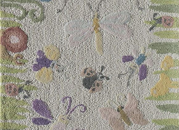 Garden Butterfly Hand Carved and Tufted Kids Area Rug