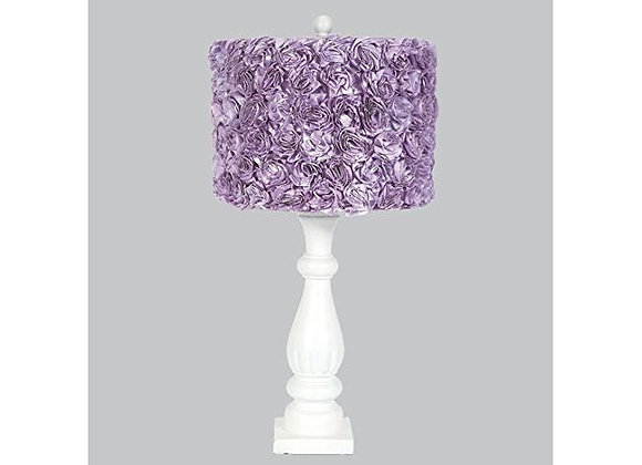 Jubilee White Table Lamp with Lavender Rose Garden Drum Shade
