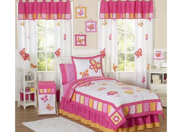 Sweet JoJo Designs Pink and Orange Butterfly Quilt and Sham Bedding Set