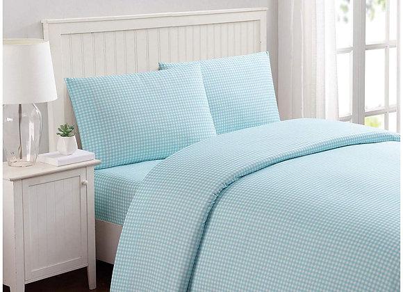 Aqua Blue Gingham Sheet Set