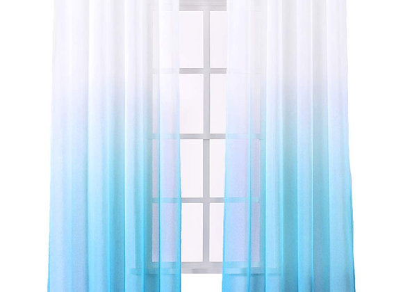 Set of 2 Ombre Blue and White Sheer Window Panels