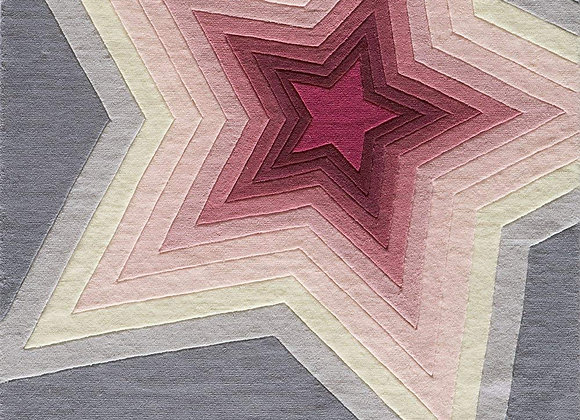 Momeni Kids Pink and Gray Star Hand Carved and Tufted Rug