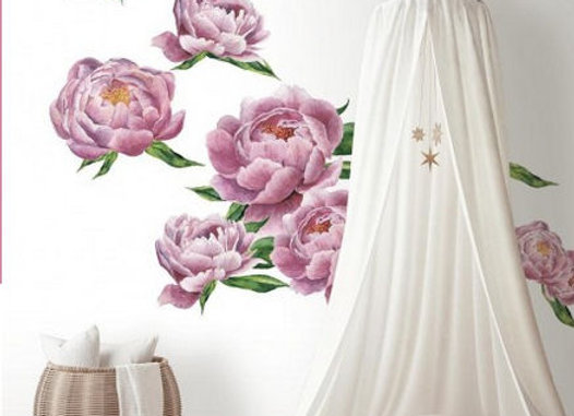 Roommates Large Peony Peel and Stick Wall Decals