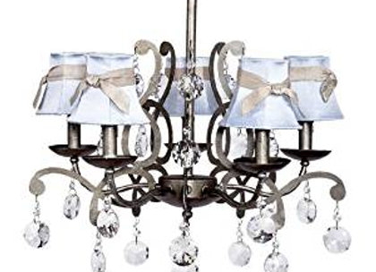 Jubilee 5 Light Antique Gray Crystal Chandelier With Light Blue Silk Shades