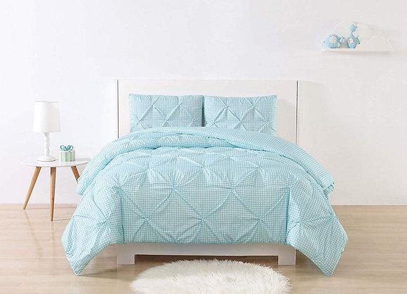 Laura Hart Gingham Pleat Aqua Comforter and Sham Set