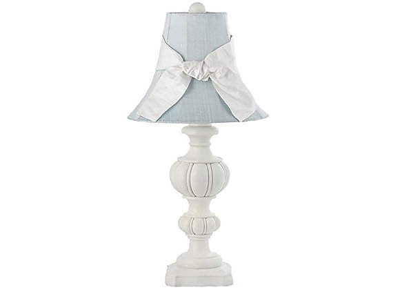 Jubilee White Urn Lamp with Blue Silk Shade