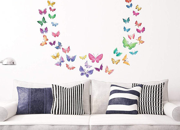 Decowall Watercolor Butterfly Wall Decals