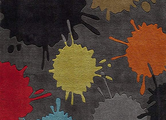 Momeni Kids Gray Paint Splat Hand Carved and Tufted Area Rug