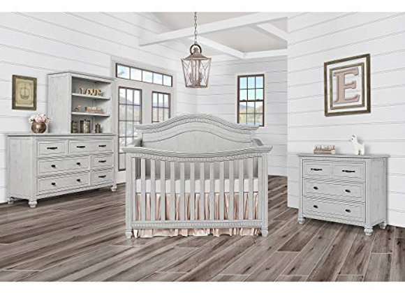 Madison 5 in 1 Solid Wood Curved Top Crib in Gray Mist