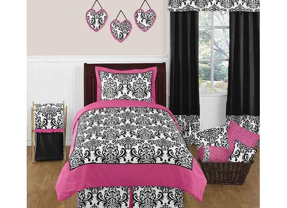 Sweet JoJo Designs Black and Pink Damask Quilt and Sham Bedding Set