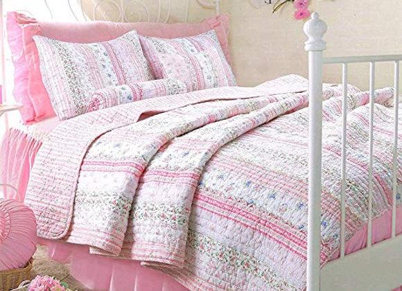Cozy Line Pink Romantic Chic Lace Quilt & Sham