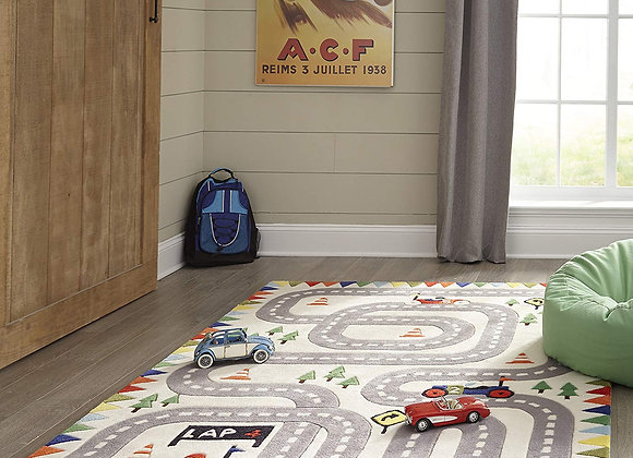 Ivory Racecar Hand Carved and Tufted Kids Area Rug