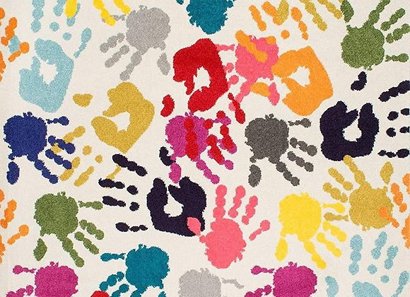 Handprint Collage Kids Area Rug