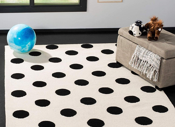 Safavieh Kids Ivory and Black Polka Dot Wool Area Rug