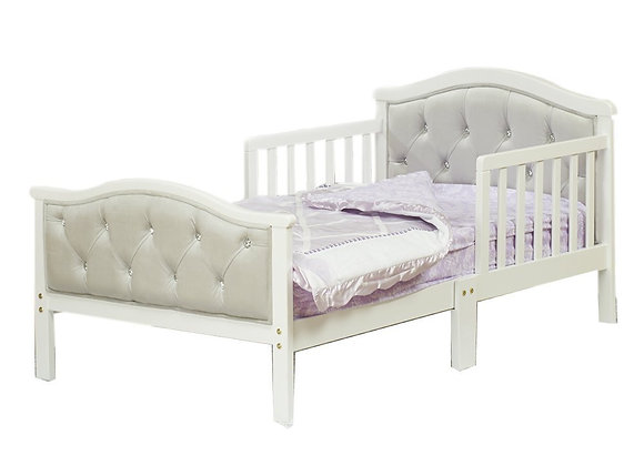 Orbell Tufted Headboard Gray Toddler Bed