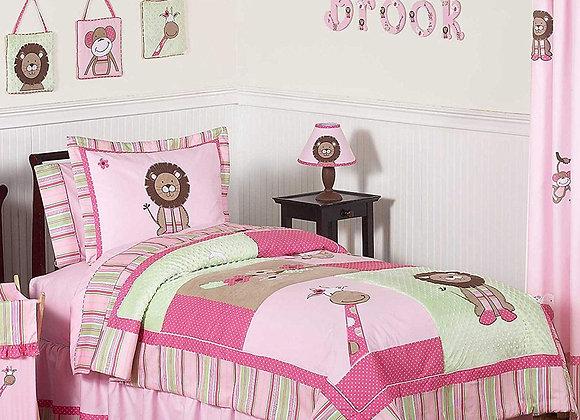 Sweet JoJo Designs Pink and Green Jungle Bedding Set